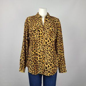 Sung Alfred Sung Animal Print Button Up Top Size L